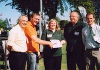 Unsung heroe nomination forms at saltex Left to right - Laurence Gale (Pitchcare), Adrian Kay, Lynda and David Green (Terrain Aeration)and Steve Gingell (STRI).