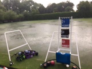 Buckingham West End Bowls heavy rain 0721